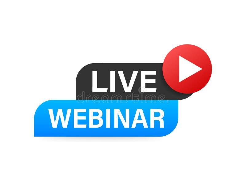 Live Webinar Button, icône Illustration courante de vecteur illustration stock