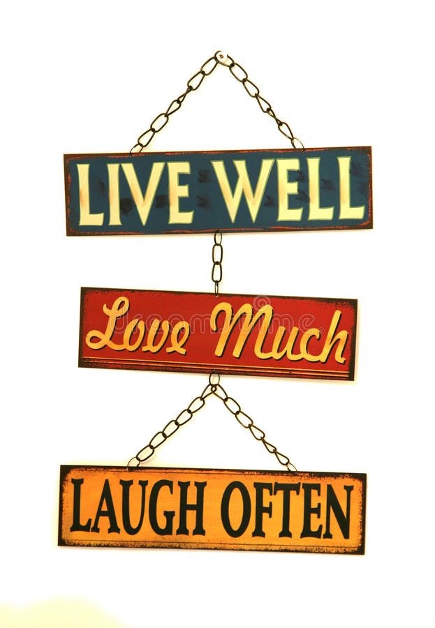 Live well love much laugh often sign stock image