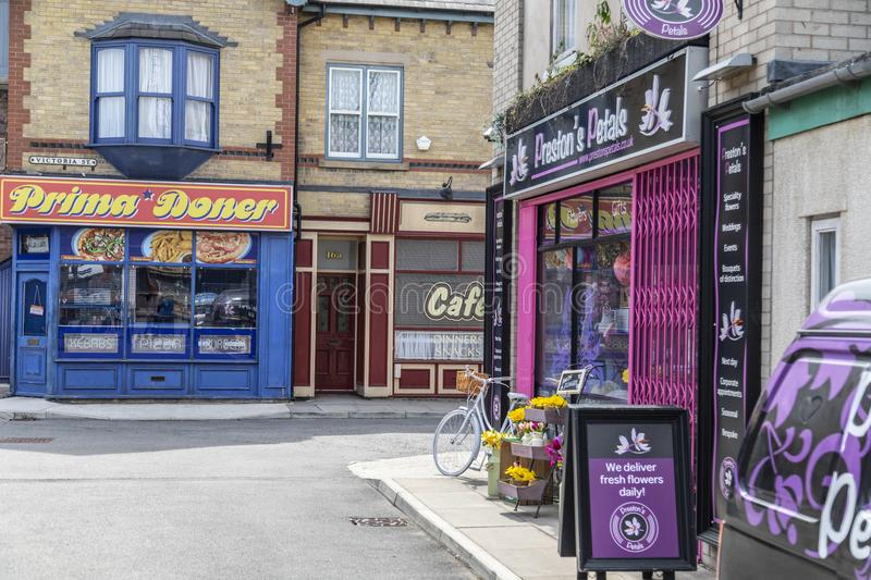 A look around the new working Coronation Street Set. This is the live working set used from 2018in the television series Coronation Street stock photo