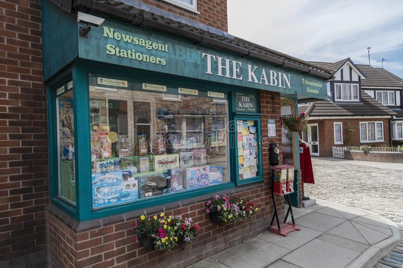 A look around the new working Coronation Street Set. This is the live working set used from 2018in the television series Coronation Street royalty free stock photos
