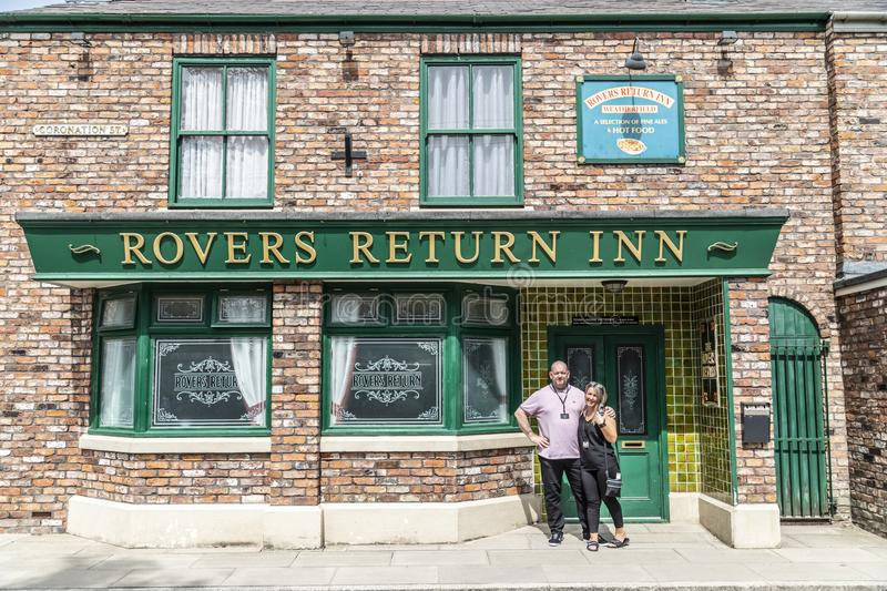 A look around the new working Coronation Street Set. This is the live working set used from 2018in the television series Coronation Street stock photos