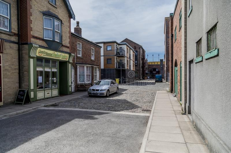 A look around the new working Coronation Street Set. This is the live working set used from 2018in the television series Coronation Street stock photography