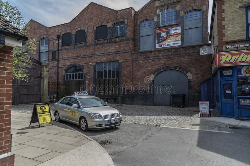 A look around the new working Coronation Street Set. This is the live working set used from 2018in the television series Coronation Street stock image