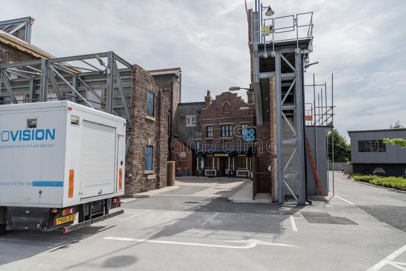 A look around the new working Coronation Street Set. This is the live working set used from 2018in the television series Coronation Street royalty free stock image