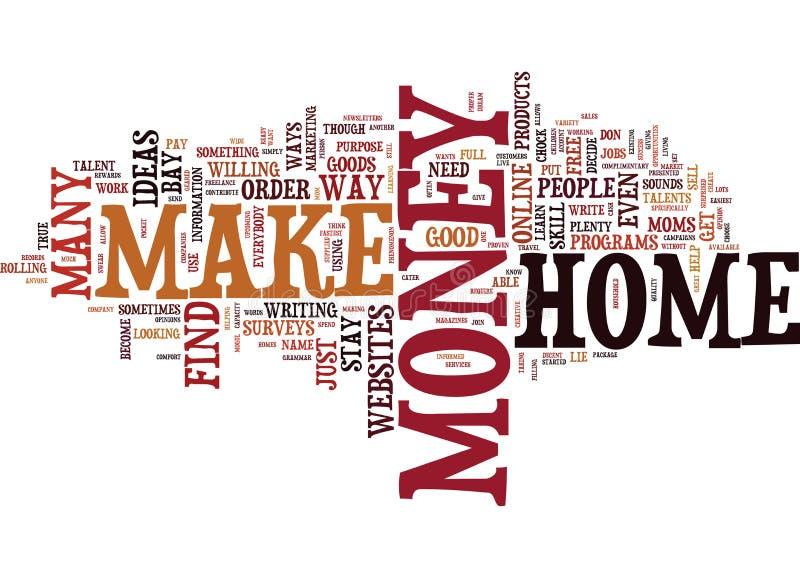 Live Your Dream When You finner ut hur man gör pengar hemifrån att smsa begrepp för bakgrundsordmoln royaltyfri illustrationer