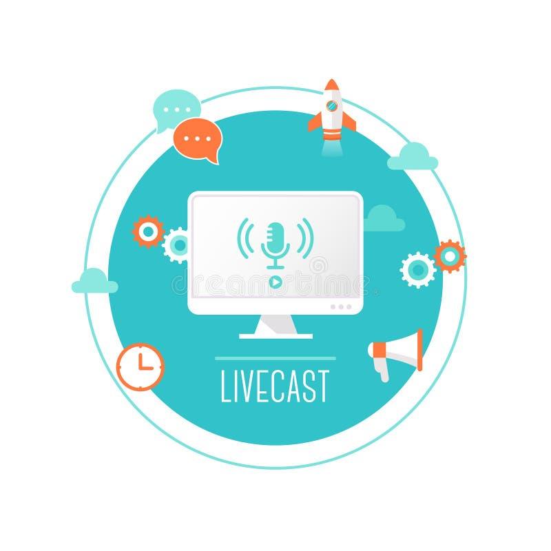 Livecast oder Netz-Strom-Illustration Computer mit Mikrofon-Ikone auf dem Schirm umgeben durch Technologie-Ikonen stock abbildung