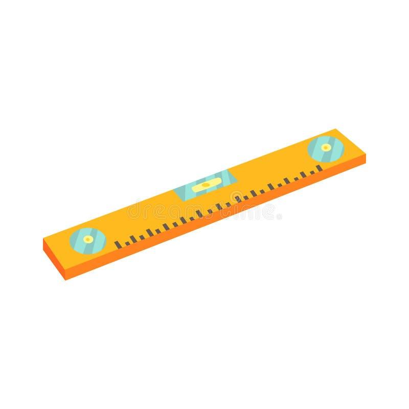 Livella a bolla gialla, dispositivo per il controllo dei livelli verticali ed orizzontali Illustrazione variopinta di vettore del illustrazione di stock