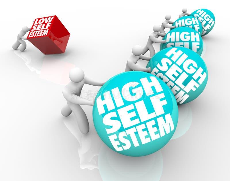 Livello contro la corsa perdente di stima di sé bassa di fiducia illustrazione di stock