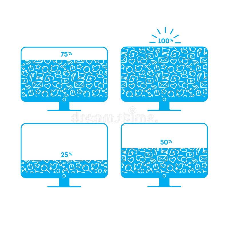Livello del carico del monitor della rete sociale con il modello fotografie stock
