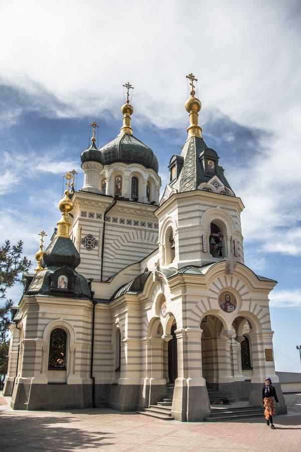Livello del tempio nelle montagne sulla penisola della Crimea immagini stock libere da diritti