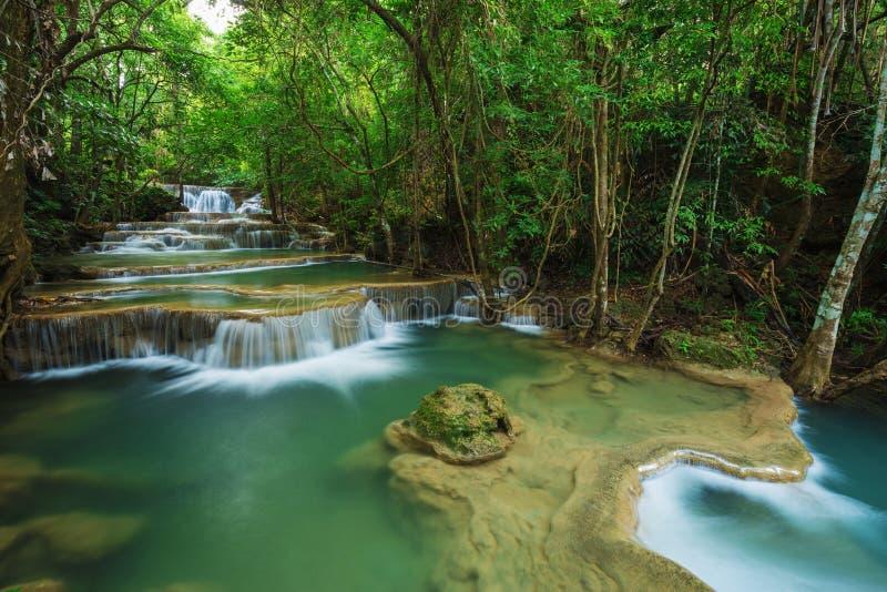 Livello 1 della cascata di Huay Mae Kamin in Khuean Srinagarindra Nati fotografia stock