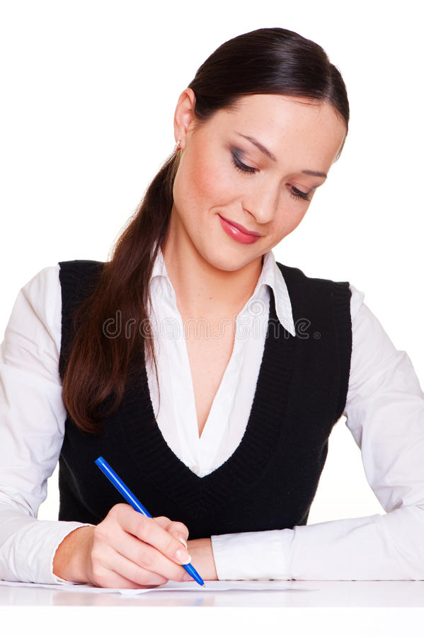Download Lively Businesswoman Writing Stock Image - Image: 12607281