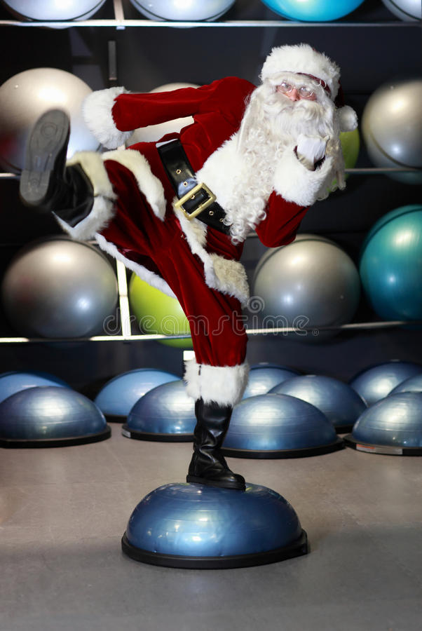 Free Lively Santa Claus Fitness Training Stock Photo - 26969650