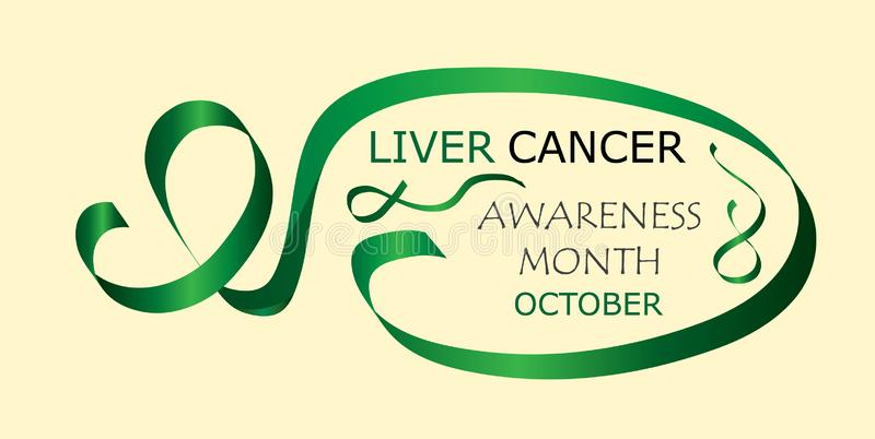 Liver Cancer Awareness Month is organised in October. Green waving ribbon sign on yellow background. Vector for horizontal banner, web, poster, flyer stock illustration
