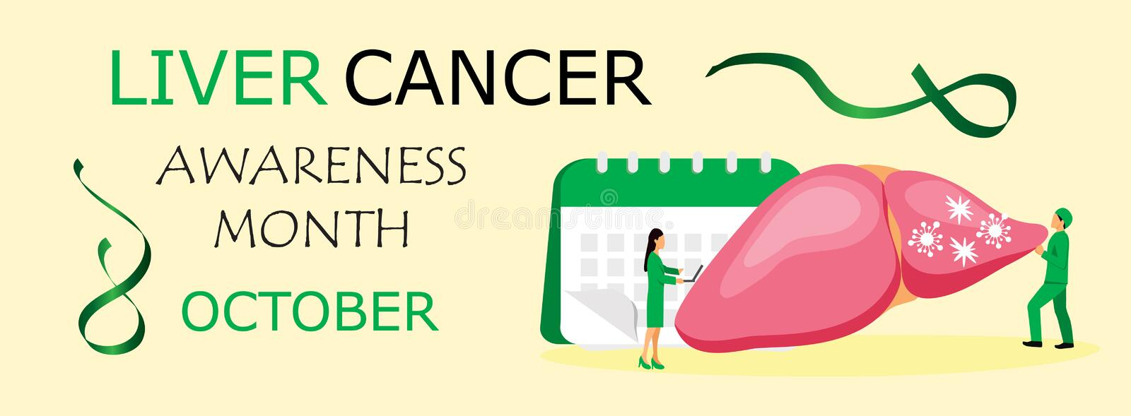 Liver Cancer Awareness Month is organised in October. Green waving ribbon sign on yellow background vector for horizontal banner, web, poster, flyer. Tiny royalty free illustration