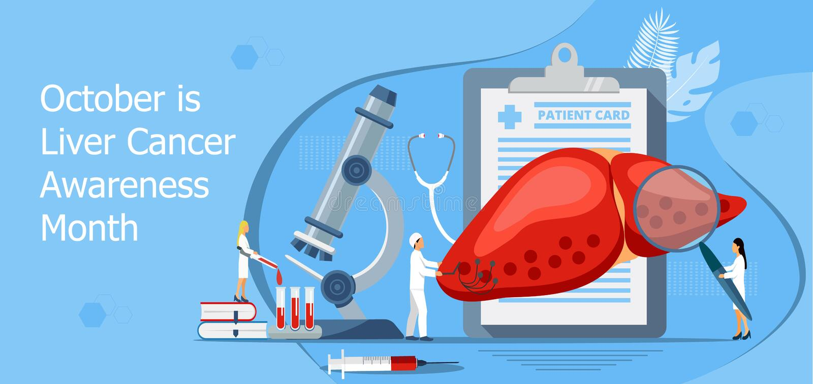 Liver Cancer Awareness Month is organised in October. Tiny people treat deasesed liver. Healthcare concept blue background vector for horizontal banner, web stock illustration