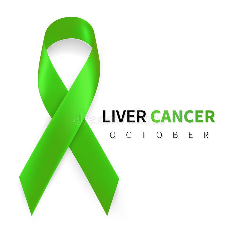 Liver Cancer Awareness Month. Realistic Emerald Green ribbon symbol. Medical Design. Vector illustration.  vector illustration