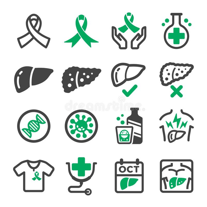 Liver cancer icon set. Vector and illustration royalty free illustration