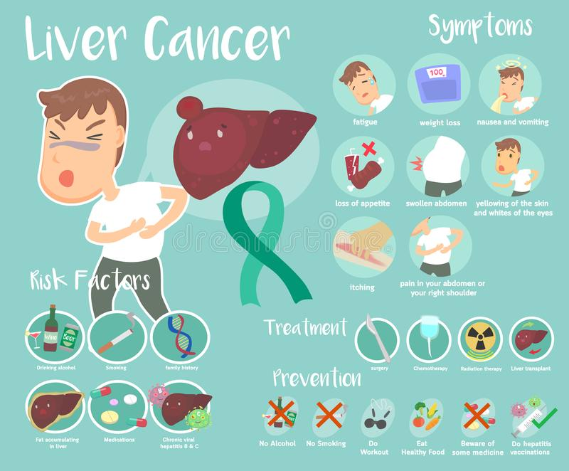 Liver Cancer infographic. Cute info graphic of Liver Cancer royalty free illustration