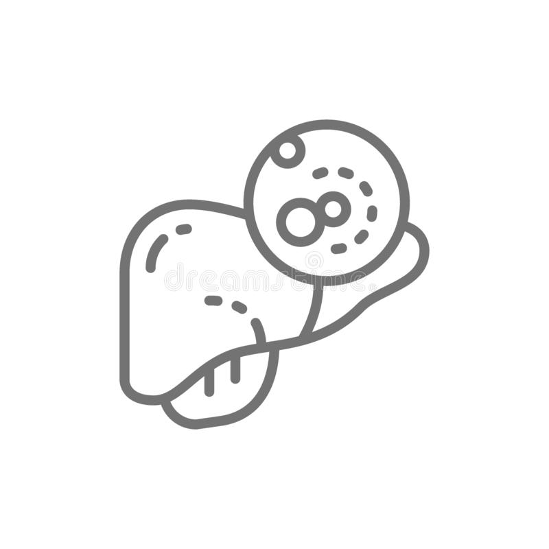 Liver cancer, malignant tumor, oncology line icon. royalty free illustration