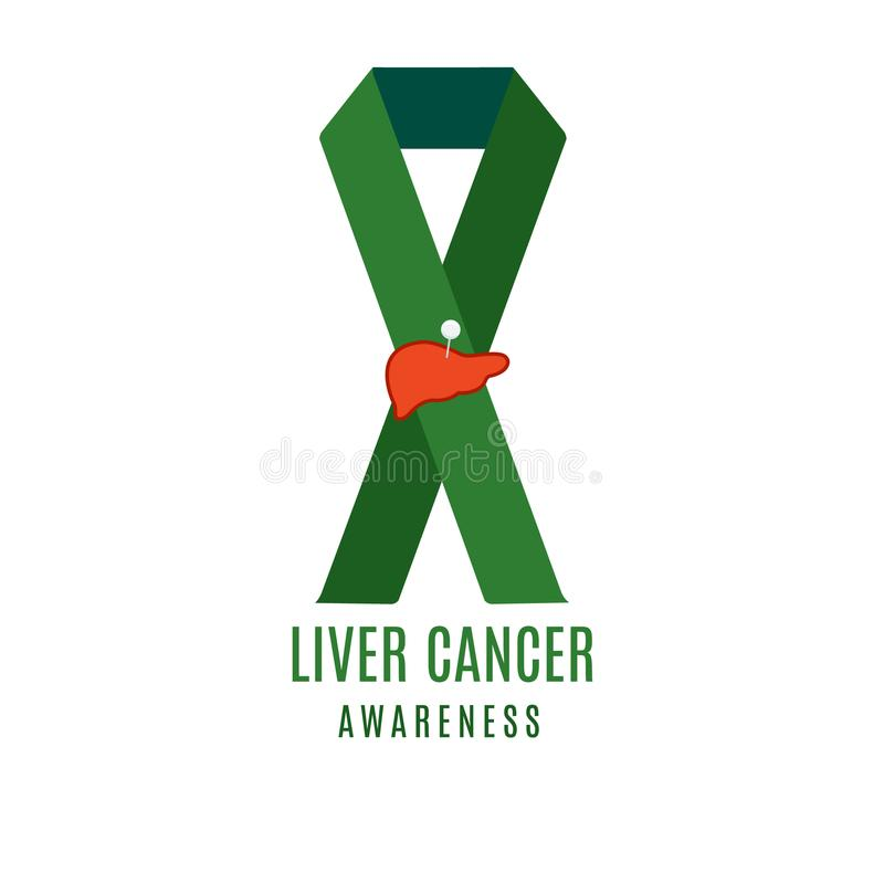Liver Cancer Ribbon With A Needle Pin Stock Vector Illustration Of
