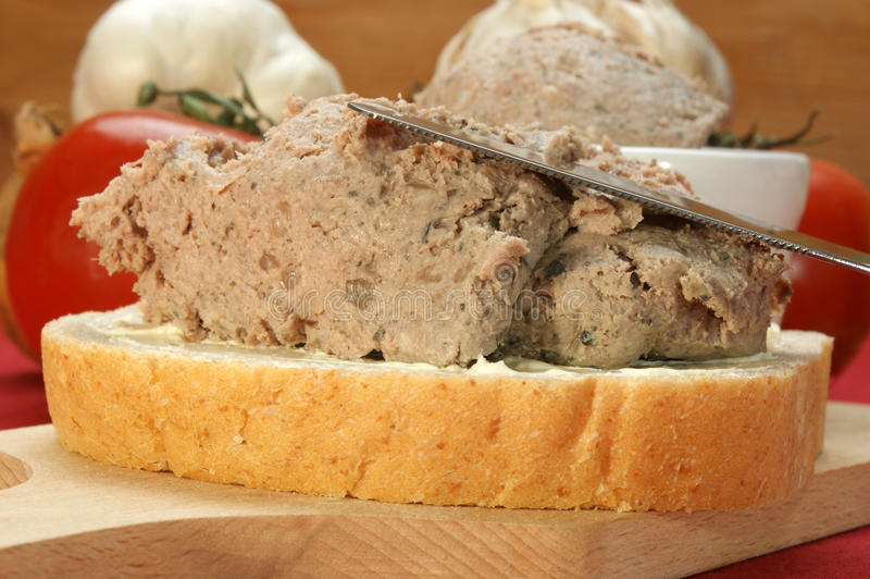 Liver sausage with marjoram royalty free stock image