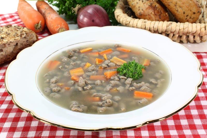 Liver spaetzle soup stock photos