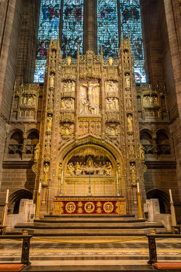 Liverpool Cathedral altar. ENGLAND, LIVERPOOL - 15 NOV 2015: Liverpool Cathedral altar royalty free stock photo