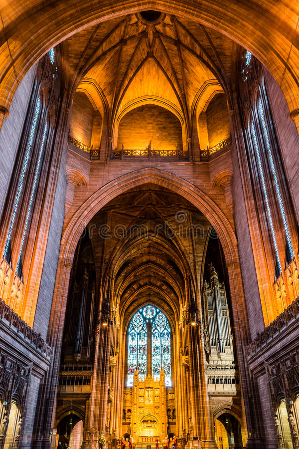 Liverpool Cathedral ceiling. ENGLAND, LIVERPOOL - 15 NOV 2015: Liverpool Cathedral ceiling stock images
