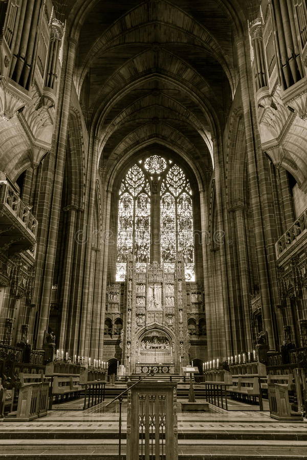 Liverpool Cathedral choir and organs. ENGLAND, LIVERPOOL - 15 NOV 2015: Liverpool Cathedral choir and organs stock image
