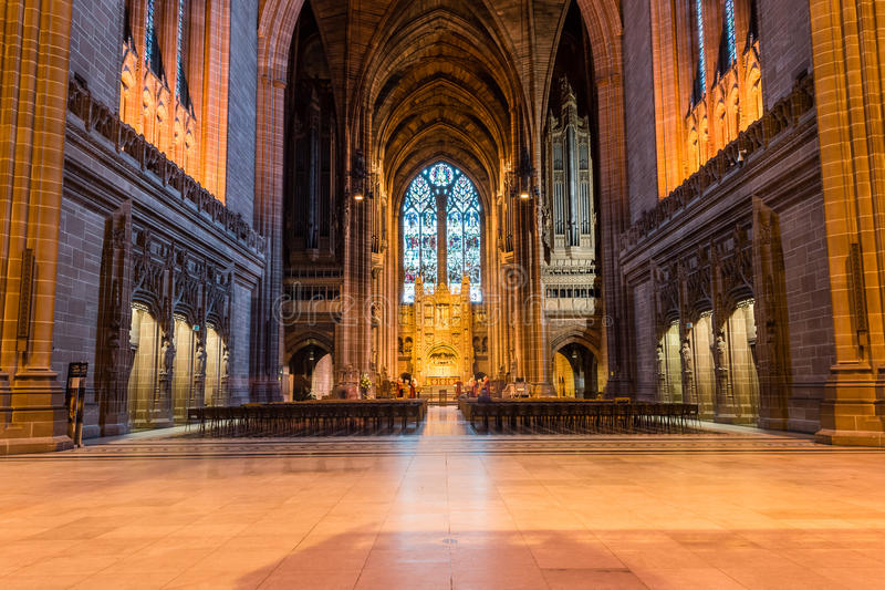 Liverpool Cathedral nave. ENGLAND, LIVERPOOL - 15 NOV 2015: Liverpool Cathedral nave royalty free stock image