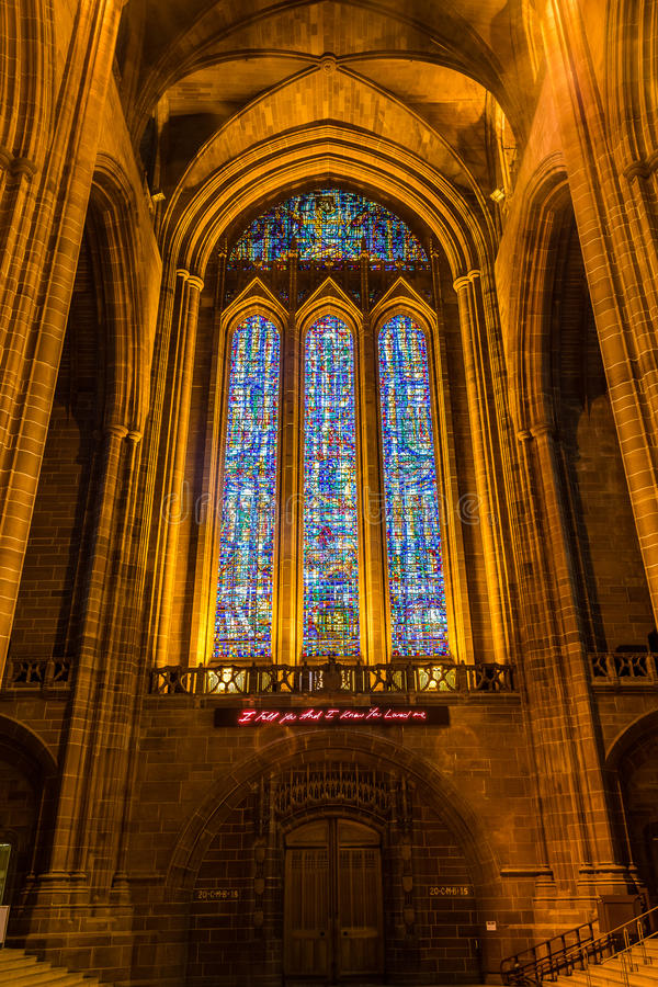 Liverpool Cathedral stained glass. ENGLAND, LIVERPOOL - 15 NOV 2015: Liverpool Cathedral stained glass royalty free stock photo