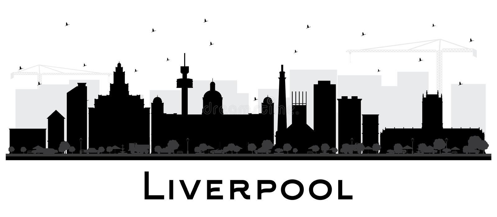 Liverpool City Skyline Silhouette with Black Buildings Isolated. On White. Vector Illustration. Business Travel and Tourism Concept with Historic Architecture royalty free illustration