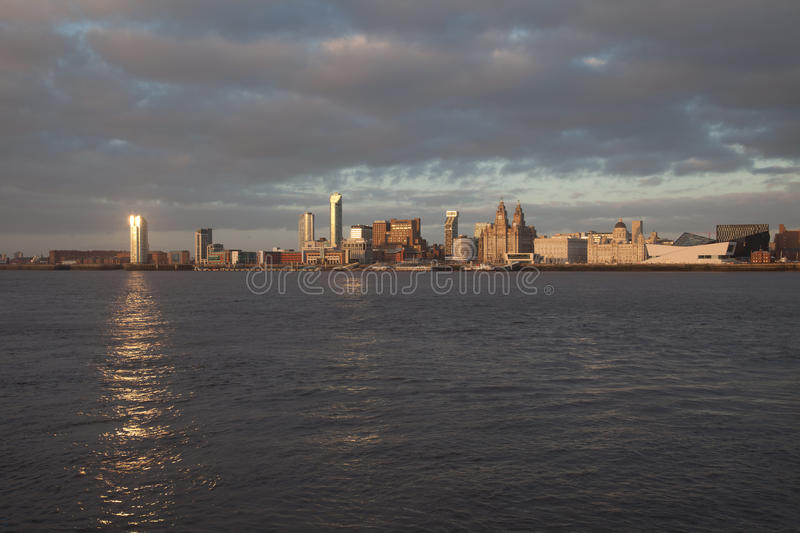 Download Liverpool City View At Dusk Stock Image - Image: 23700721
