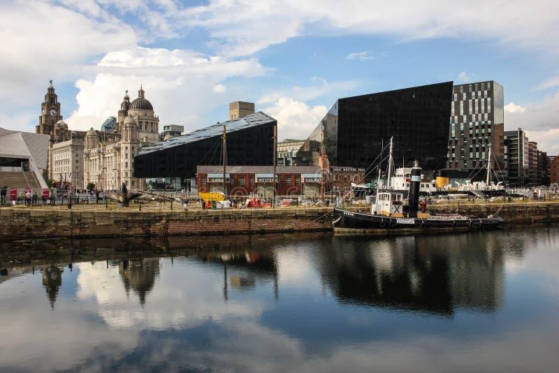 Liverpool cityscape från docksna royaltyfri foto