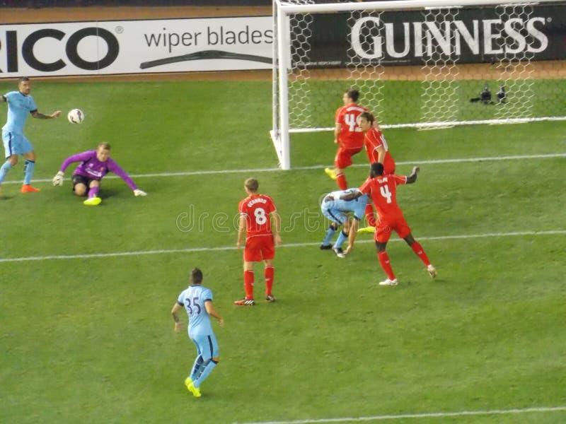 Liverpool contre le match de football de Manchester City photographie stock