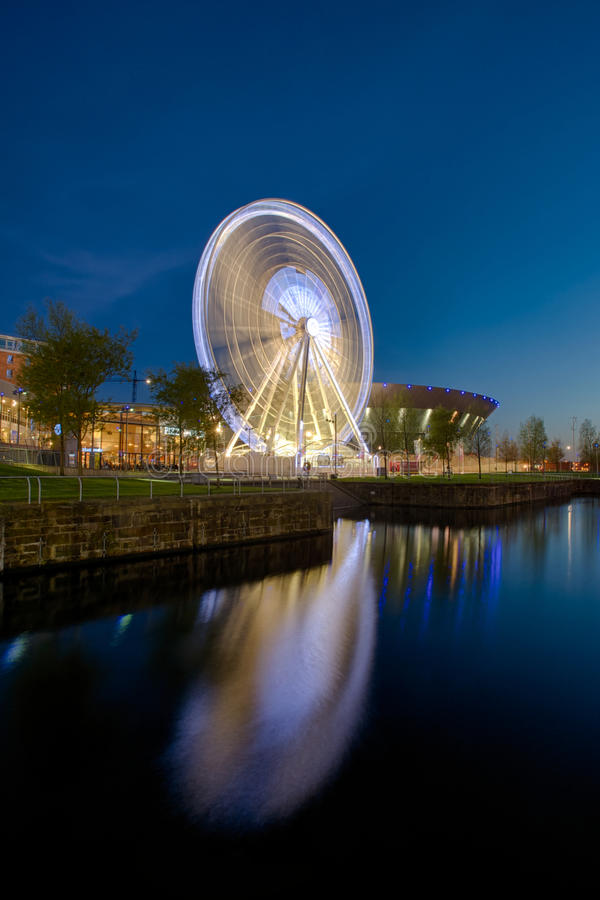 Liverpool Echo Arena and ferris wheel stock photo