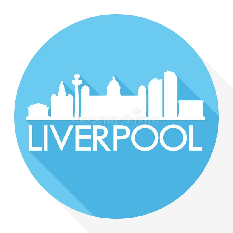 Liverpool Engeland Europa om van het de Stadssilhouet van Pictogram Vectorart flat shadow design skyline het Malplaatjeembleem stock illustratie