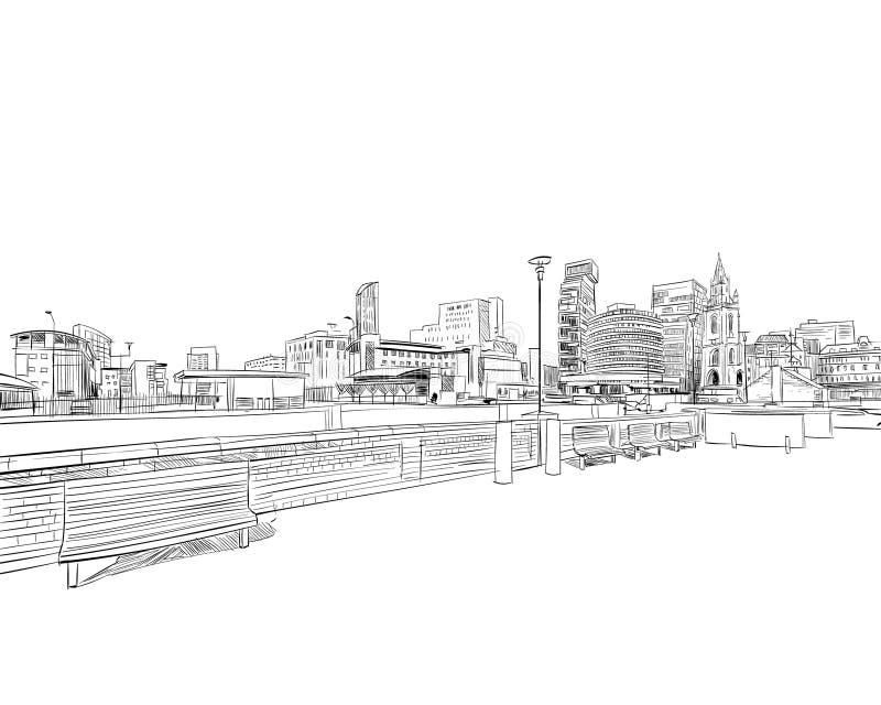 liverpool engeland Het Verenigd Koninkrijk van Groot-Brittannië Hand getrokken vectorillustratie royalty-vrije illustratie