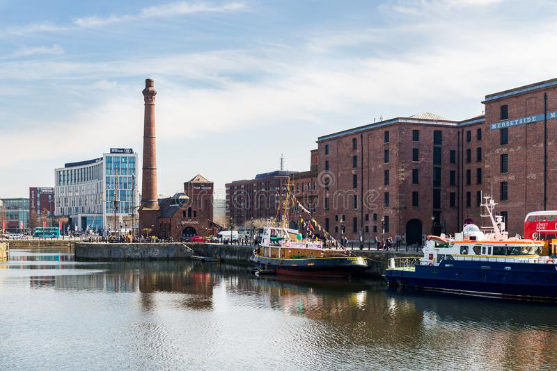 Beautiful sunny day in Liverpool, UK, different views of the cit royalty free stock photos