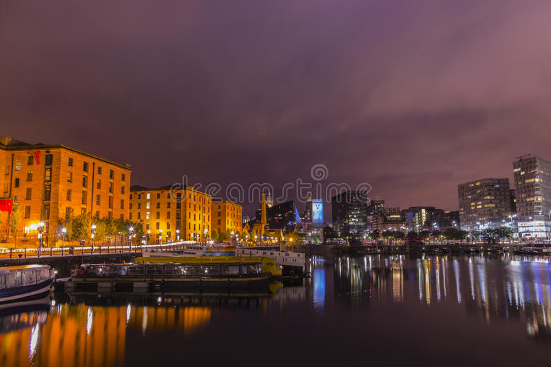 Liverpool, England at night royalty free stock image