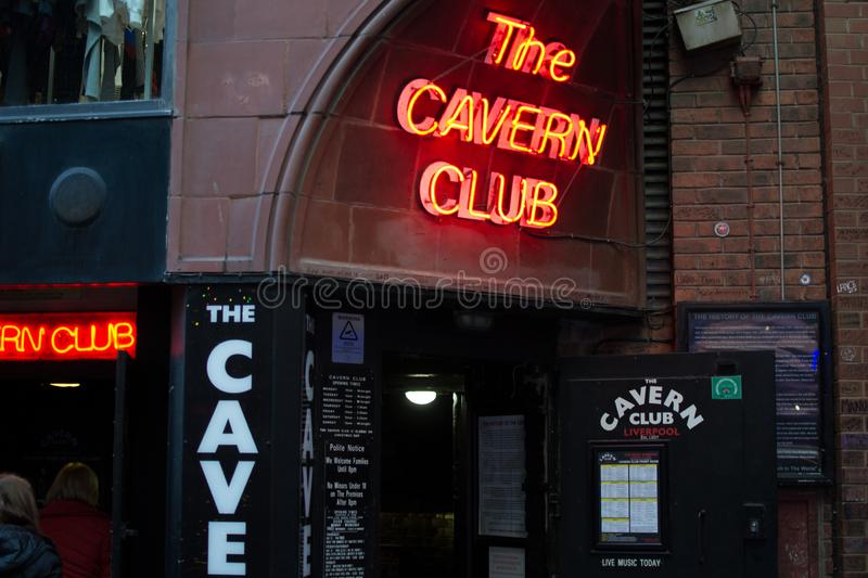 Liverpool, England, United Kingdom; 10/15/2018: Entrance of The Cavern Club, the bar of the Beatles, with red neon lights.  stock image