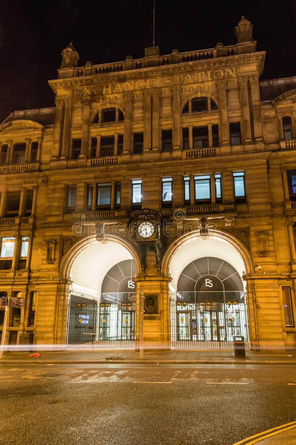Liverpool Exchange railway station by night. ENGLAND, LIVERPOOL - 15 NOV 2015: Liverpool Exchange railway station by night stock photo