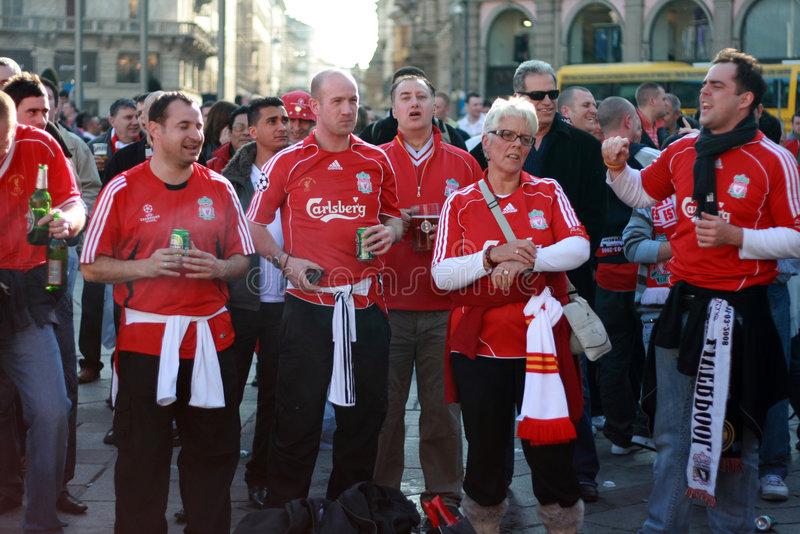 Liverpool fans stock image