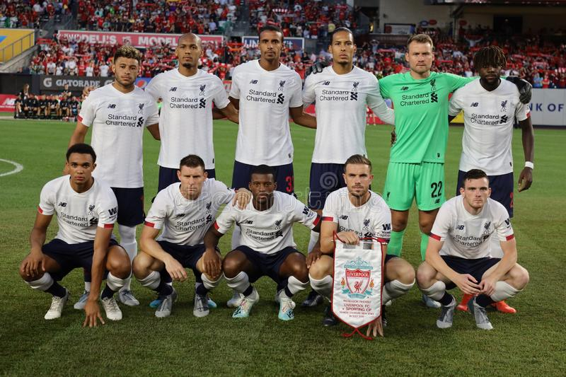 Liverpool FC si schiera contro il CP durante la partita della Western Union Cup 2019 allo stadio Yankees di New York fotografia stock libera da diritti