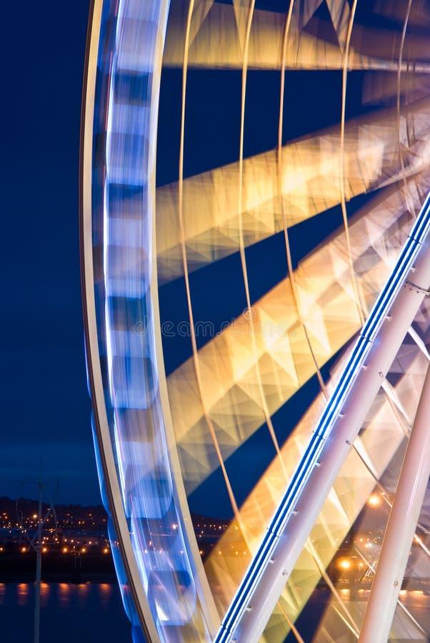 Liverpool ferris wheel in rörelse royaltyfria bilder