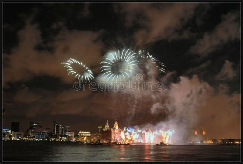 Liverpool Fireworks4 stock photo