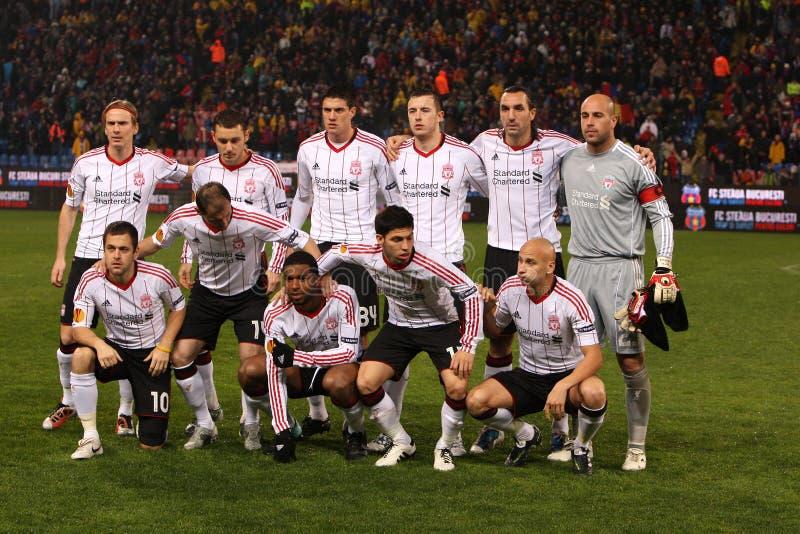 Liverpool-Fußballteam stockfotos
