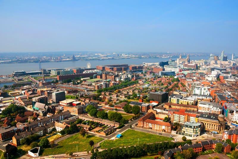 Liverpool, Großbritannien Vogelperspektive des Stadtzentrums lizenzfreie stockfotos