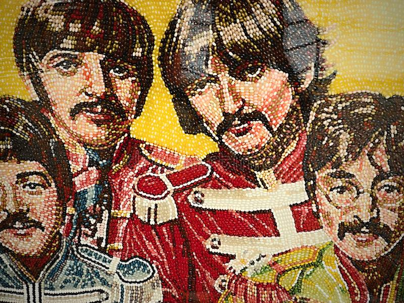 Liverpool, Holclub, de Beatles-gezichten, bars in stadscentrum stock afbeelding